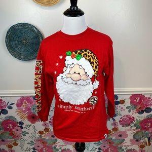 Simply Southern Leopard Santa Long Sleeve Holiday Tee Size Youth Medium